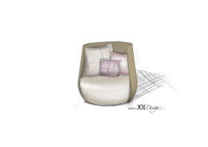 """Skizze: JOI-Design/ MMV Lounge-Objekt """"NEST"""""""