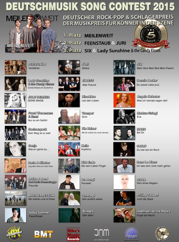 5 Jahre Deutschmusik Song Contest - Die Finalisten und Sieger 2015