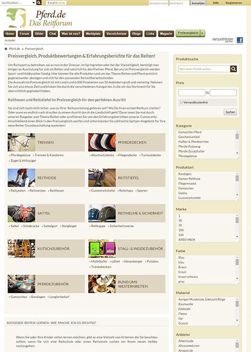 Das Preisvergleichstool auf pferd.de: Preise für Reitsportbedarf vergleichen und günstig online shoppen