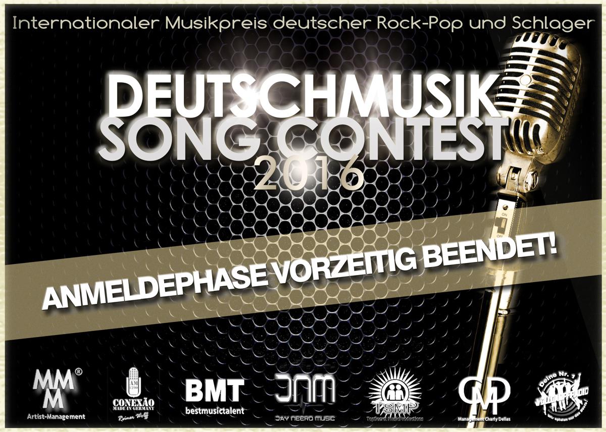 Deutschmusik Song Contest 2016 - Anmeldephase beendet