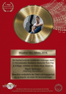 Gold Award - Deutschmusik Song Contest 2016 - Mark Selinger