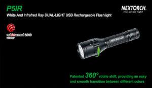 Dual-Light-Technologie - diese Taschenlampe kann von Weiß auf Infrator mit einem Dreh umschalten