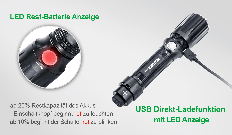 Nextorch war mit der erste Taschenlampen-Hersteller vom USB-Taschenlampen mit USB-Ladefunktion
