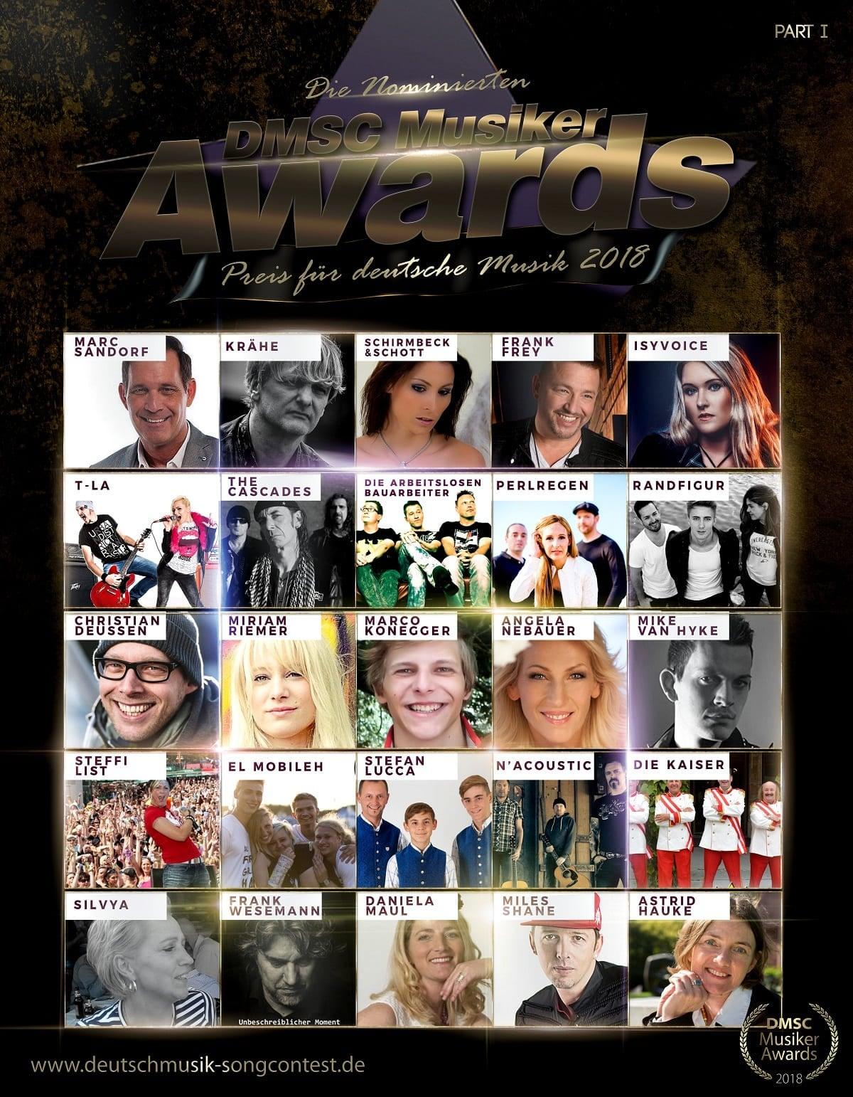 Deutschmusik Song Contest gibt Nominierungen für die DMSC-Musiker-Awards 2018 bekannt