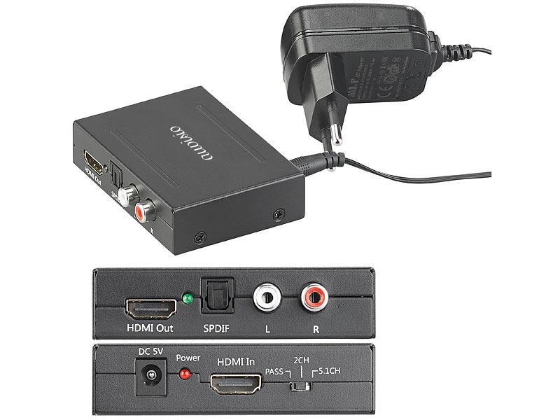 auvisio HDMI-Audio-Konverter zu TOSLINK und Stereo-Cinch