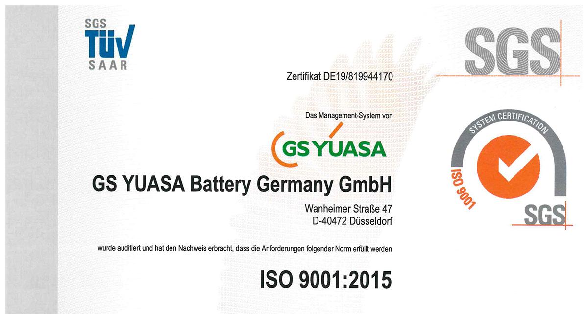 GS YUASA ist nach ISO 9001:2015 zertifiziert