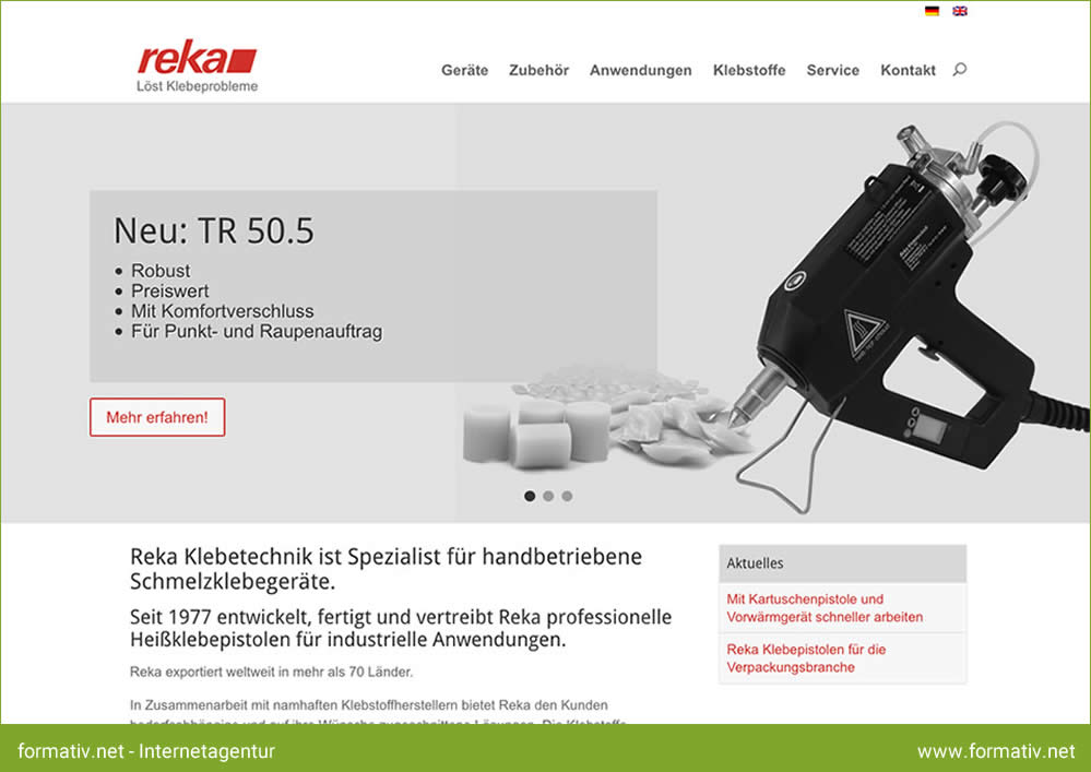 Reka Klebetechnik präsentiert seine professionellen Klebelösungen auf neuer Internetseite