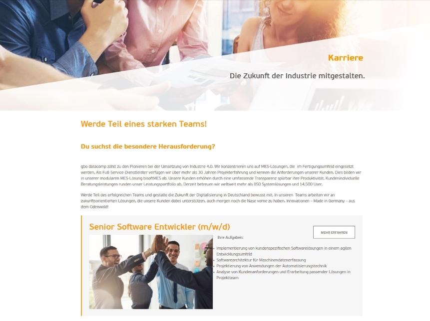 gbo datacomp mit neuer Karriereseite im Netz