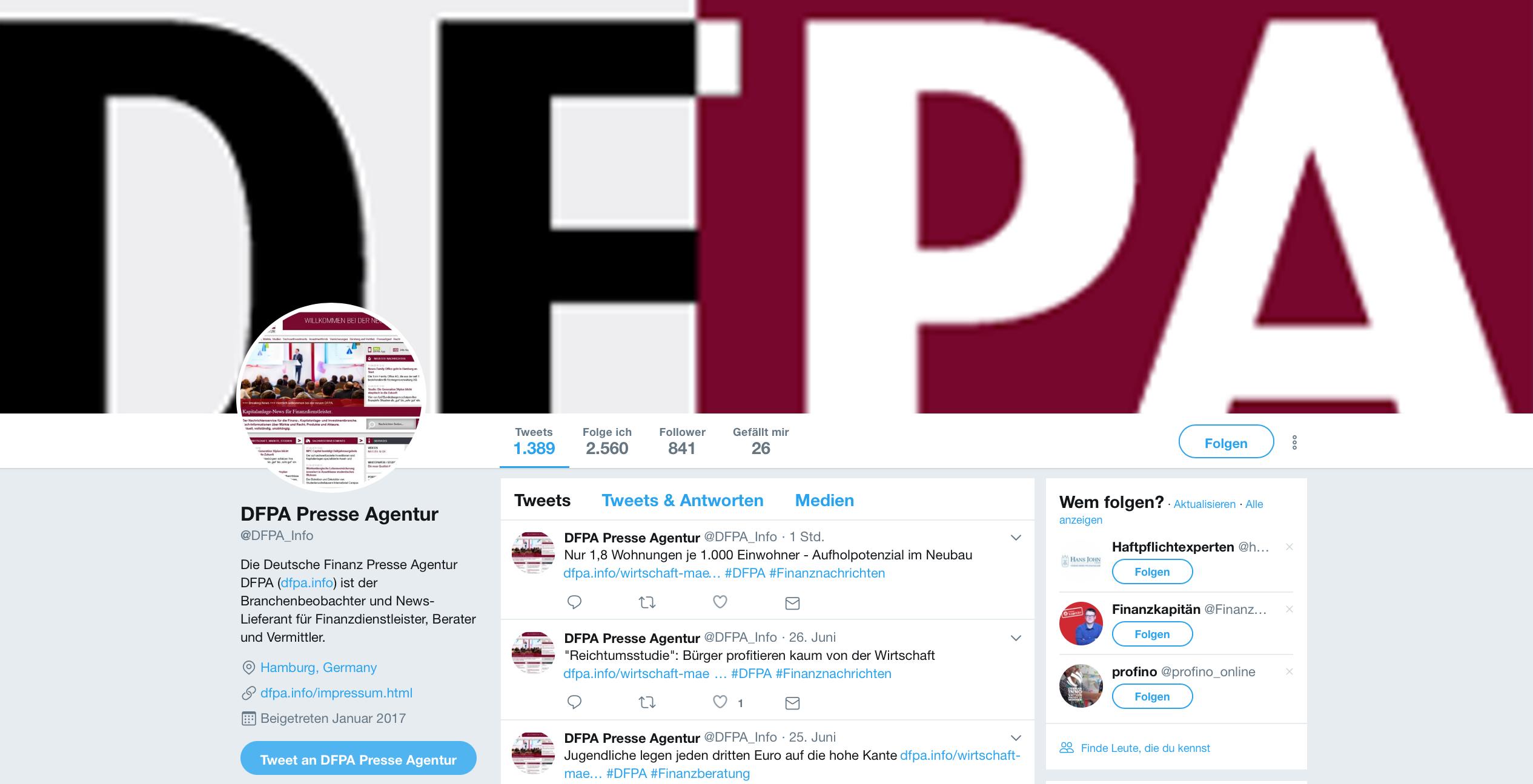 Social Media in der Finanzbranche: DFPA-Twitter Account für Finanzprofis