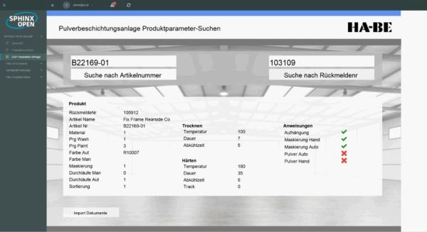 HA-BE setzt auf sphinx open online der in-GmbH als Industrial-IoT für die Pulverbeschichtung