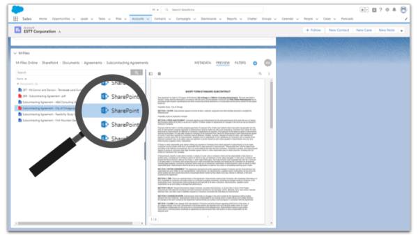 M-Files Ground Link verbindet Salesforce mit Dokumenten in lokalen SharePoint-Bibliotheken