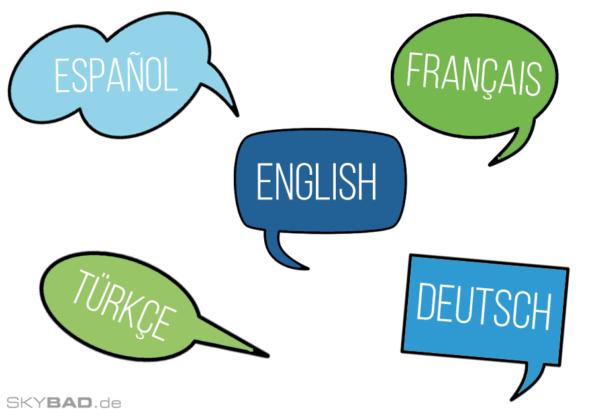 Skybad berät auf 5 Sprachen