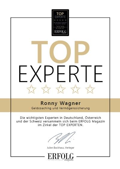 Ronny Wagner als Top-Experte ausgezeichnet