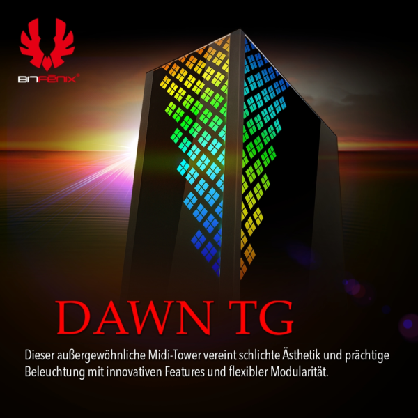 BRANDNEU bei Caseking: BitFenix Dawn TG – der Midi-Tower mit Sonnaufgang-Feeling
